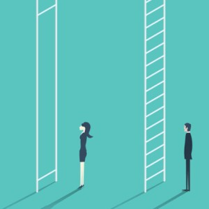 Business woman versus man corporate ladder career concept vector illustration. Gender inequality issue with different opportunities for males and females.