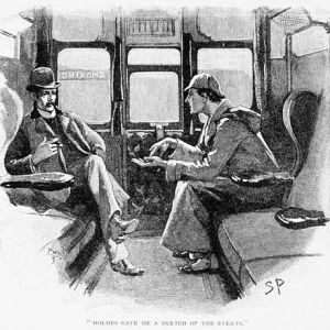 Book Illustration Depicting Sherlock Holmes and Dr. Watson in a Train Cabin