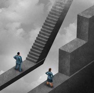 Gender discrimination and sexism inequality for being female concept as a woman with the burden of climbing a difficult obstacle and a man.